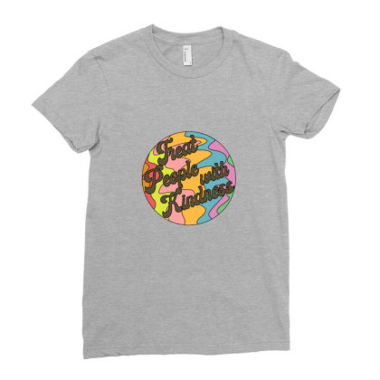 Groovy Treat 'em With Kindness Design Ladies Fitted T-shirt Designed By Asatya
