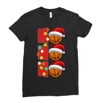 Basketball Ho Ho Ho Ladies Fitted T-shirt Designed By Badaudesign