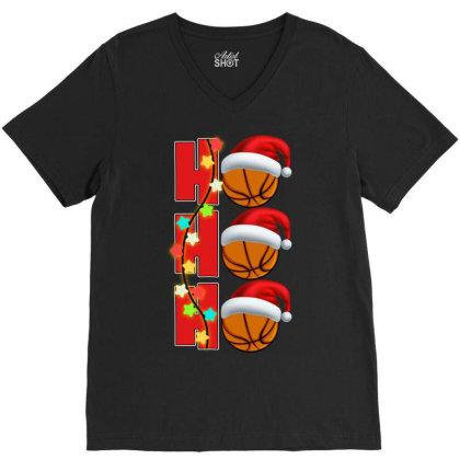 Basketball Ho Ho Ho V-neck Tee Designed By Badaudesign
