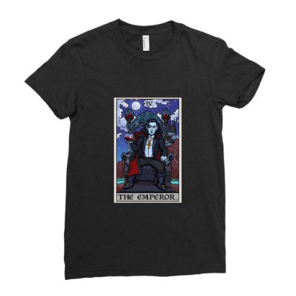 The Emperor Tarot Card Halloween Bram Stoker Count Dracula Ladies Fitted T-shirt Designed By Liquegifts