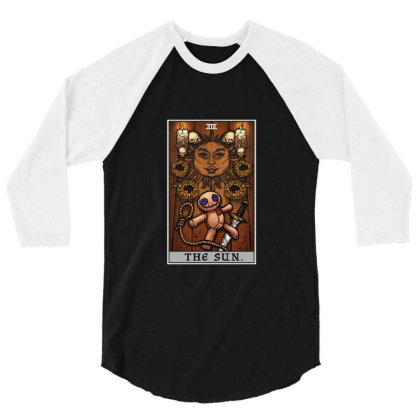 The Sun Tarot Card Halloween Voodoo Doll Witch Altar 3/4 Sleeve Shirt Designed By Liquegifts