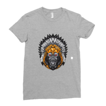 American Indian Gorila Ladies Fitted T-shirt Designed By Chiks