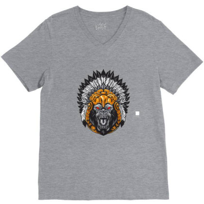 American Indian Gorila V-neck Tee Designed By Chiks