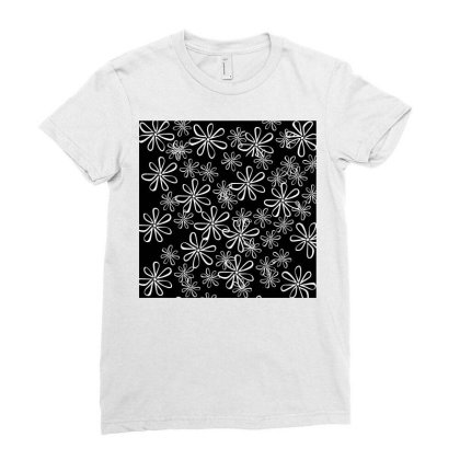 Chalk Floral Seamless Pattern Ladies Fitted T-shirt Designed By American Choice