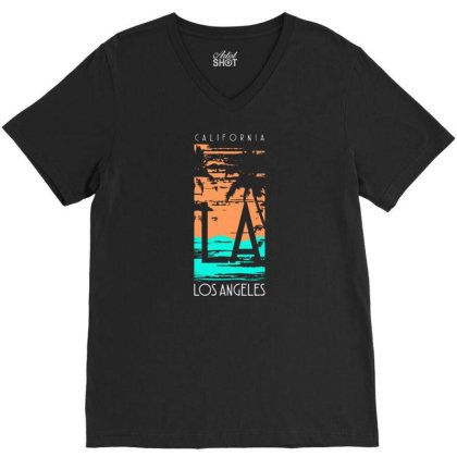 California Los Angeles With Palm V-neck Tee Designed By Lisart
