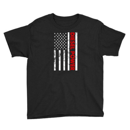 Diesel Power American Flag Youth Tee Designed By Prescoot