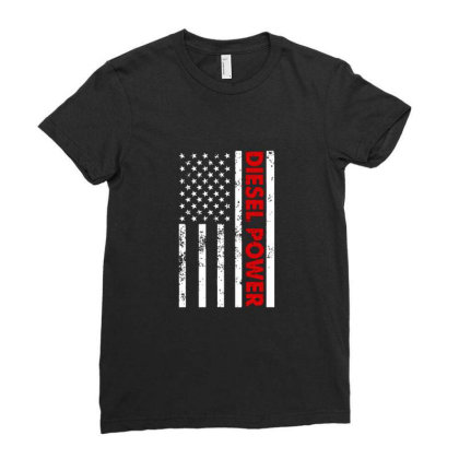 Diesel Power American Flag Ladies Fitted T-shirt Designed By Prescoot