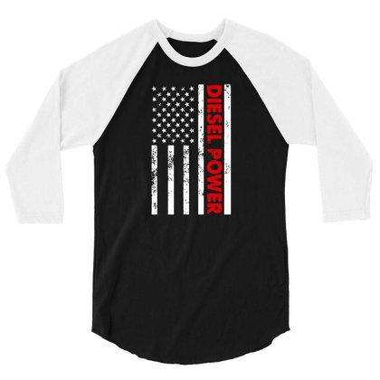 Diesel Power American Flag 3/4 Sleeve Shirt Designed By Prescoot