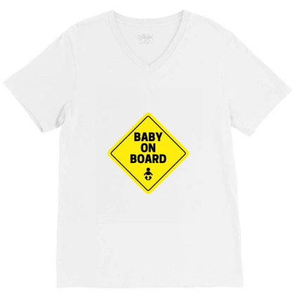 Baby On Board V-neck Tee Designed By Perfect Designers