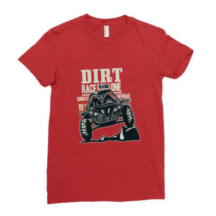 Dirt Race Ladies Fitted T-shirt Designed By Chiks