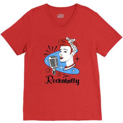 50s Rockabilly V-neck Tee Designed By Mrt90