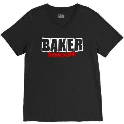 Baker Skateboards V-neck Tee Designed By Leona Art