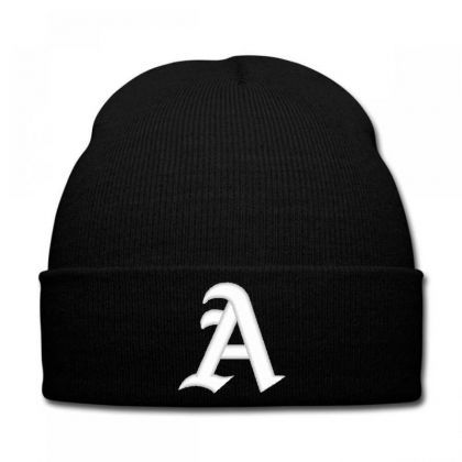 Old English Style Initial Letter A Embroidered Hat Knit Cap Designed By Madhatter