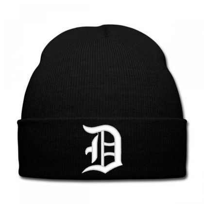 Old English Style Initial Letter D Embroidered Hat Knit Cap Designed By Madhatter