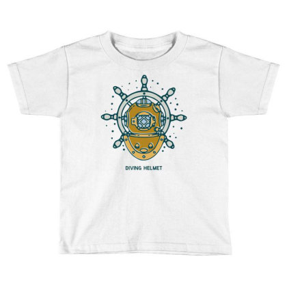Diving Helmet Crab With Ship's Wheel Nautical Toddler T-shirt Designed By Nurart