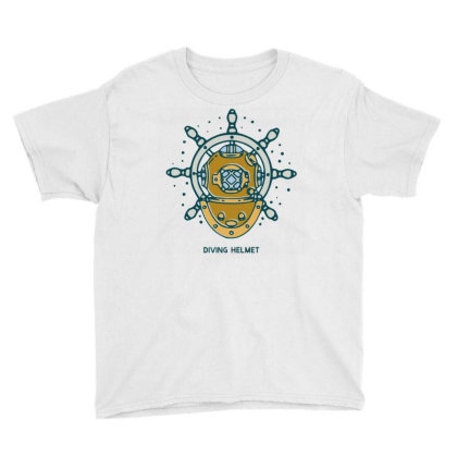 Diving Helmet Crab With Ship's Wheel Nautical Youth Tee Designed By Nurart