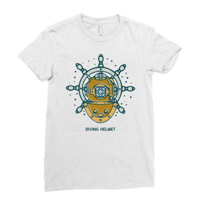 Diving Helmet Crab With Ship's Wheel Nautical Ladies Fitted T-shirt Designed By Nurart