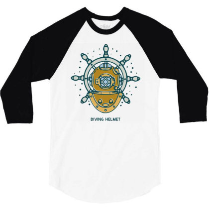 Diving Helmet Crab With Ship's Wheel Nautical 3/4 Sleeve Shirt Designed By Nurart