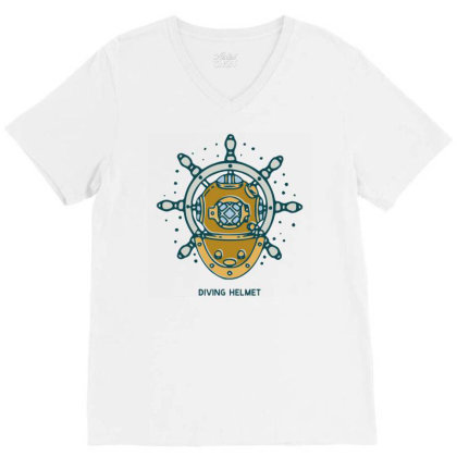 Diving Helmet Crab With Ship's Wheel Nautical V-neck Tee Designed By Nurart