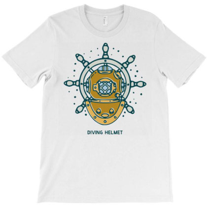 Diving Helmet Crab With Ship's Wheel Nautical T-shirt Designed By Nurart