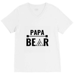 family bear pregnancy announcement papa V-Neck Tee   Artistshot