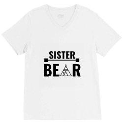 family bear pregnancy announcement sister V-Neck Tee   Artistshot