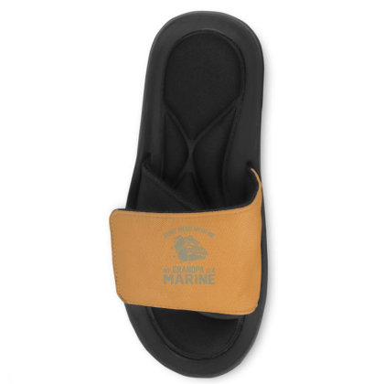 Don't Mess Wiht Me My Grandpa Is A Marine Slide Sandal Designed By Sabriacar