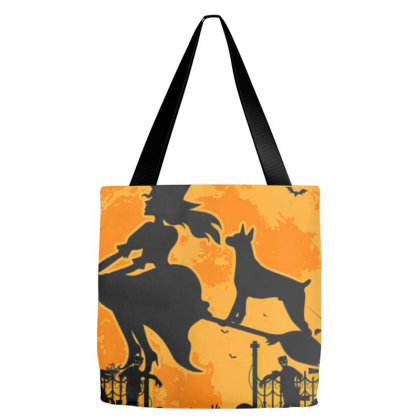 My Doberman Rides Shotgun Halloween Tote Bags Designed By Cuser3143