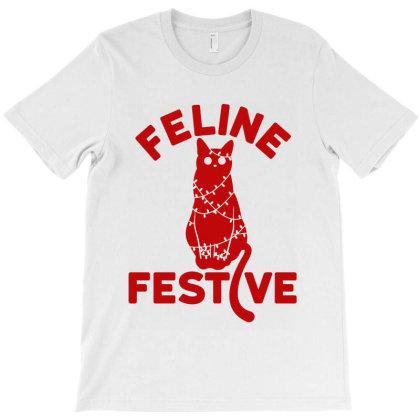 Feline Festive T-shirt Designed By La Bold
