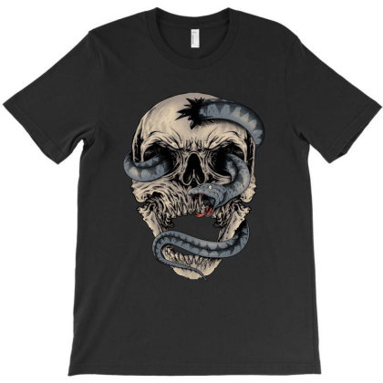 Skull  Snake T-shirt Designed By Quilimo