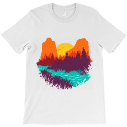 River And Sunset T-shirt Designed By Quilimo