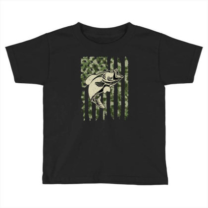 Camouflage American Flag Bass Fishing Toddler T-shirt Designed By Armon