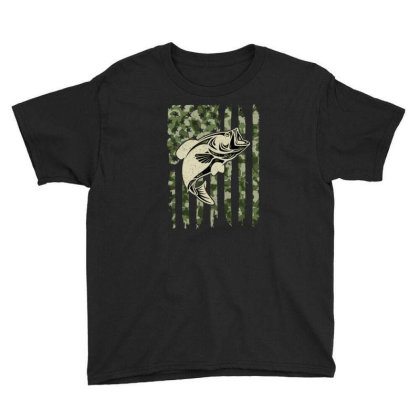 Camouflage American Flag Bass Fishing Youth Tee Designed By Armon