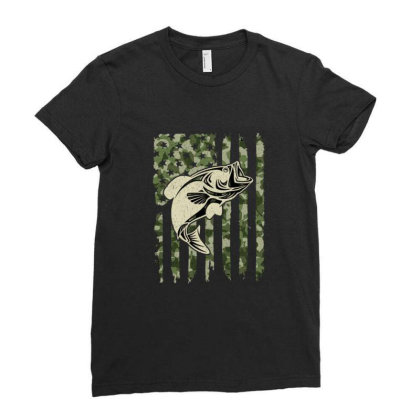Camouflage American Flag Bass Fishing Ladies Fitted T-shirt Designed By Armon