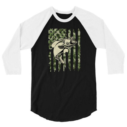 Camouflage American Flag Bass Fishing 3/4 Sleeve Shirt Designed By Armon