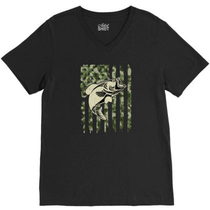 Camouflage American Flag Bass Fishing V-neck Tee Designed By Armon