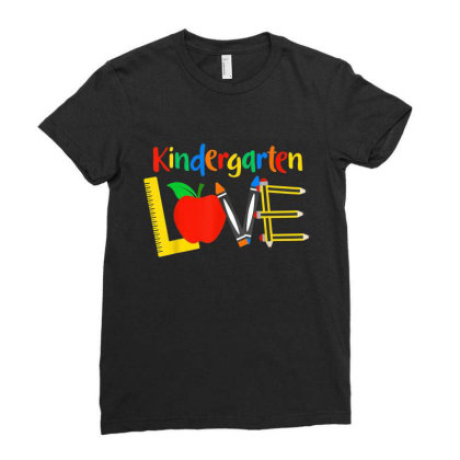 Kindergarten Love, Teacher Student Classroom Gift Ladies Fitted T-shirt Designed By Mrt90