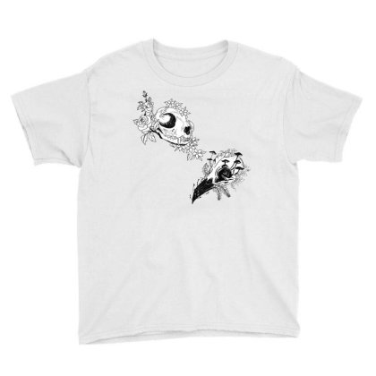 Fauna And Flora - B&w Youth Tee Designed By Snuggly The Raven