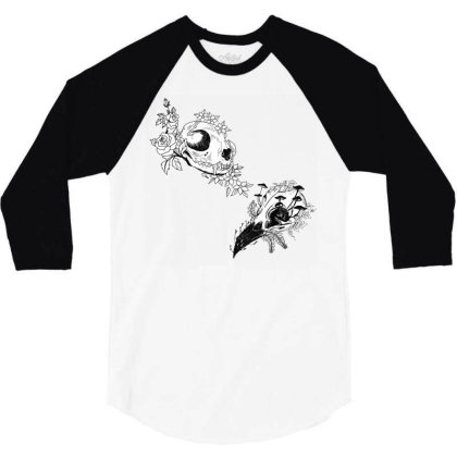 Fauna And Flora - B&w 3/4 Sleeve Shirt Designed By Snuggly The Raven