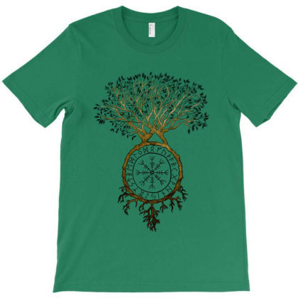 Viking Tree Of Life With Aegishjalmur - V2 T-shirt Designed By Snuggly The Raven
