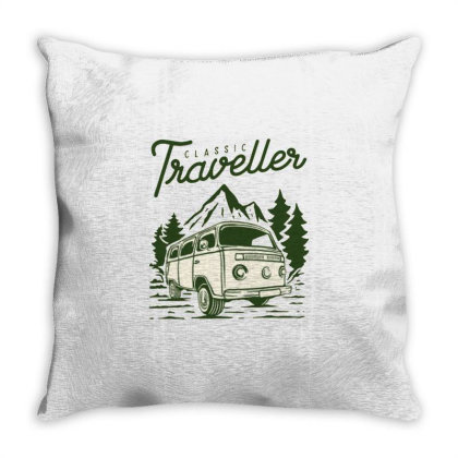 Vintage Camper Van Throw Pillow Designed By Nurart
