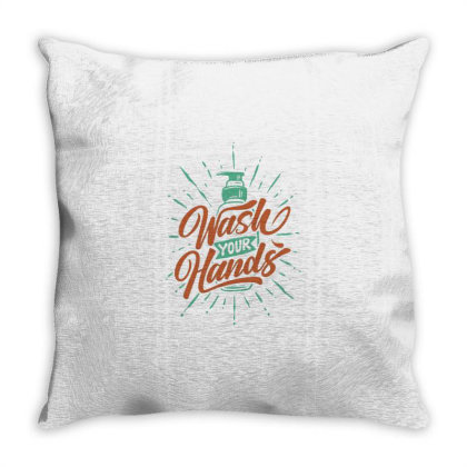 Wash Your Hands Against The Of Hand Washing Soap Throw Pillow Designed By Nurart