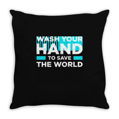 Wash Your Hand To Save The World Throw Pillow Designed By Nurart