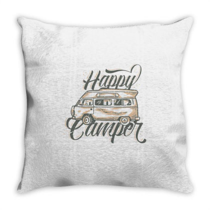 Vintage Slogan Typography Happy Camper Throw Pillow Designed By Nurart