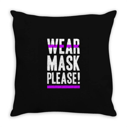 Wear Mask Please! Throw Pillow Designed By Nurart