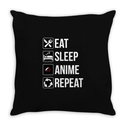 Funny Eat Sleep Anime Repeat Throw Pillow Designed By Victor_33