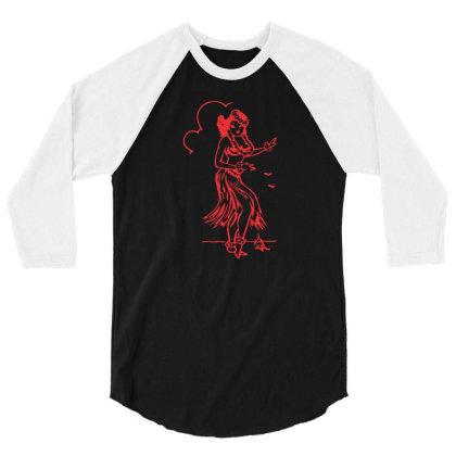 Hula Girl Hawaii 3/4 Sleeve Shirt Designed By Victor_33