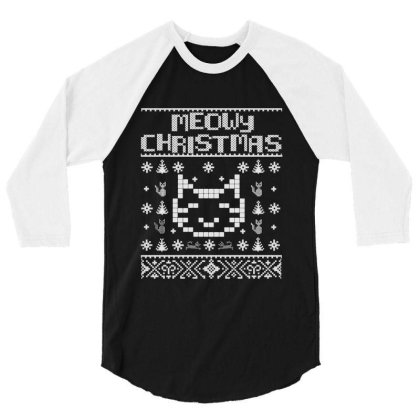 Meowy Christmas Cats 3/4 Sleeve Shirt Designed By Allstar