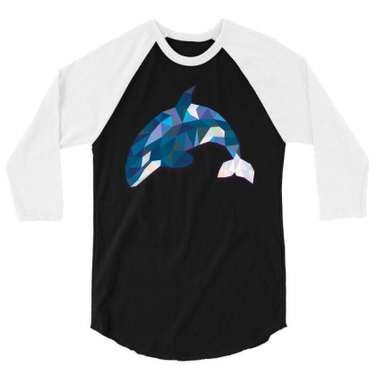 Geometric Orca Whale Funny Animal T Shirts 3/4 Sleeve Shirt Designed By Gnuh79