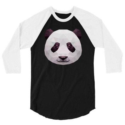 Geometric Panda Bear Funny Animal T Shirts 3/4 Sleeve Shirt Designed By Gnuh79
